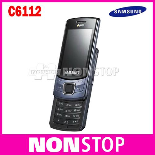 Original samsung c6112 cell phones, unlocked c6112 mobile phones dual sim card bluetooth mp3 player free shipping Refurbished(China (Mainland))