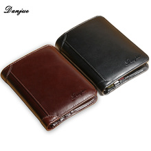 DANJUE Wallet for Men Genuine Cow Leather High Quality New Cowhide Purse Trifold Designer Business Card Holder Male(China (Mainland))
