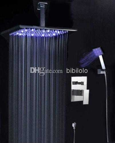 Chrome luxury Bathroom 8 led Rain Shower Faucet Head Set Wall Mounted gv-2329<br><br>Aliexpress