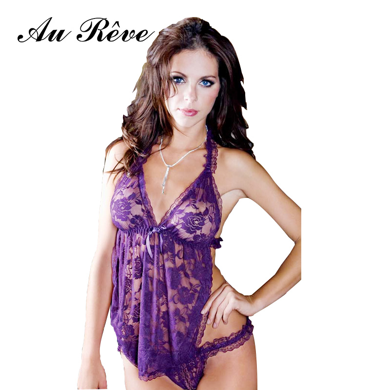 Au Reve Womens sexy lingerie erotic nightwear leotard uniform home teddy clothing dress nightshirt bellyband costome(China (Mainland))