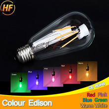 Buy Blue Red Pink Green Color Led Edison Filament Light ST64 COB LED Bulb Lamp 220v E27 Retro Globe Replace Incandescent Warm White for $2.69 in AliExpress store