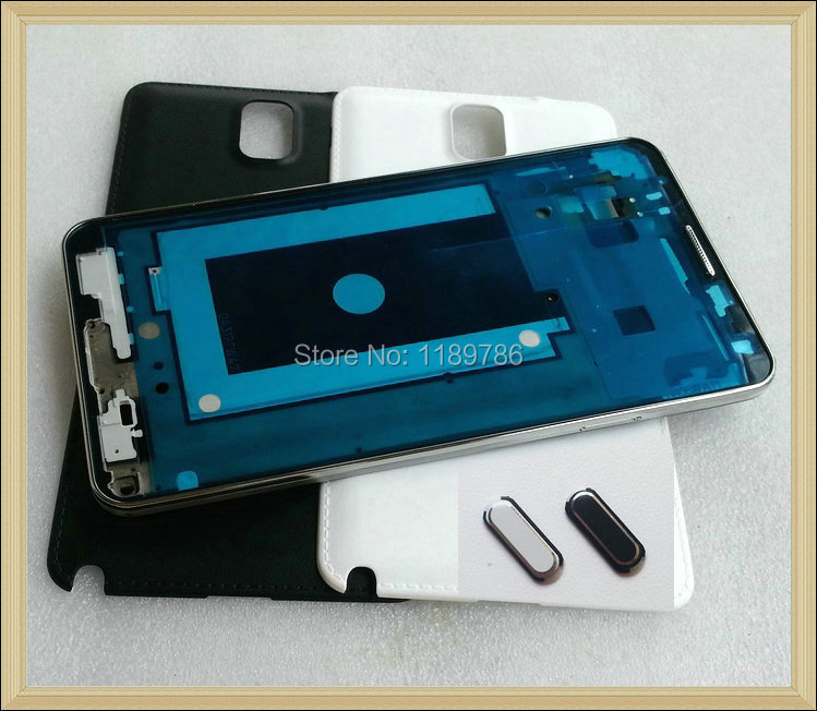 For Samsung Galaxy Note 3 N900 Original (Silver Frame) Housing Faceplate Panel Front Plate Bezel+Home Button+Battery Cover(China (Mainland))
