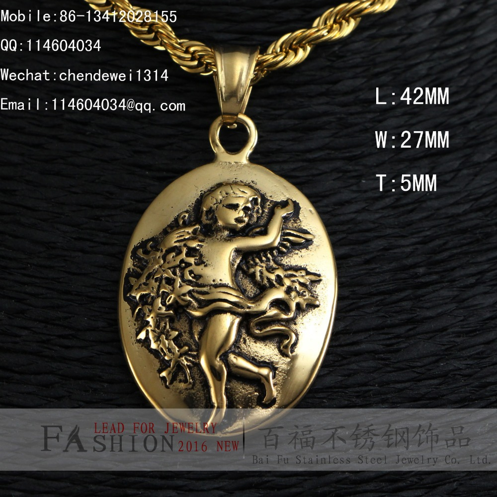 STAINLESS STEEL MICRO LITTLE ANGEL GOLD / SILVER PENDANT MEDAL(China (Mainland))