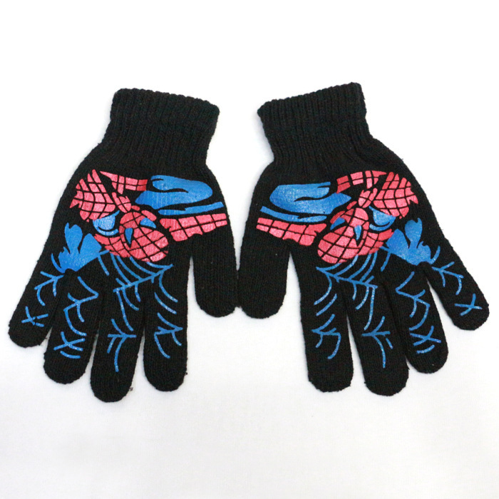 2 pair/lot Childrens gloves of acrylic the spiderman pattern gloves boys winter/autumn/spring gloves(China (Mainland))