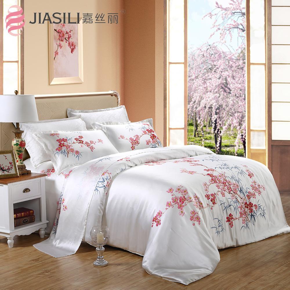 2015 Art painted 100% natural mulberry silk bedding set 4pcs sided 16m / m(China (Mainland))