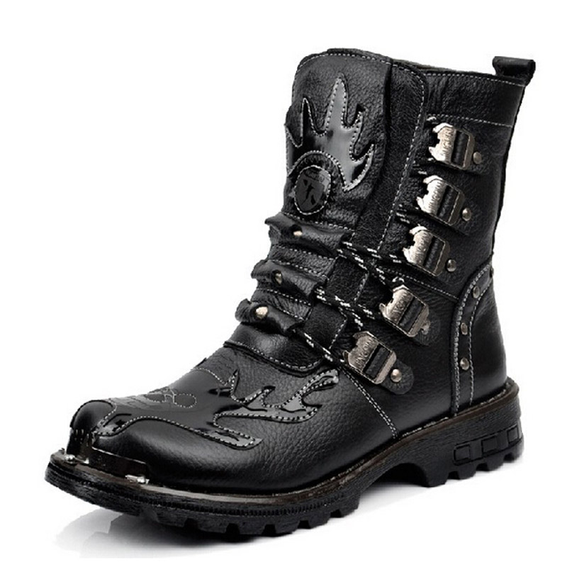 leather platform motorcycle boots combat tactical military