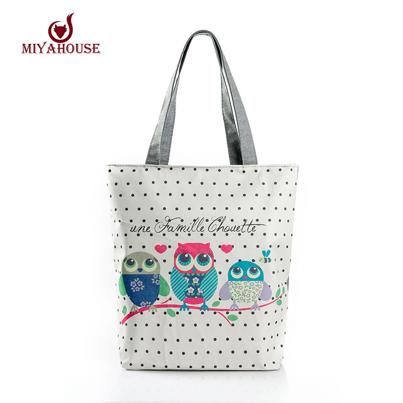 Floral And Owl Printed Women's Casual Tote Female Daily Use Female Shopping Bag Ladies Single Shoulder Handbag Simple Beach Bag(China (Mainland))