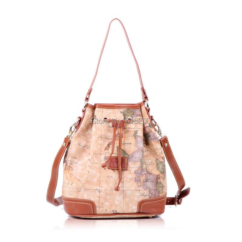 vintage preppy style bag map handbag cross-body message bags bag women's bucket handbag(China (Mainland))