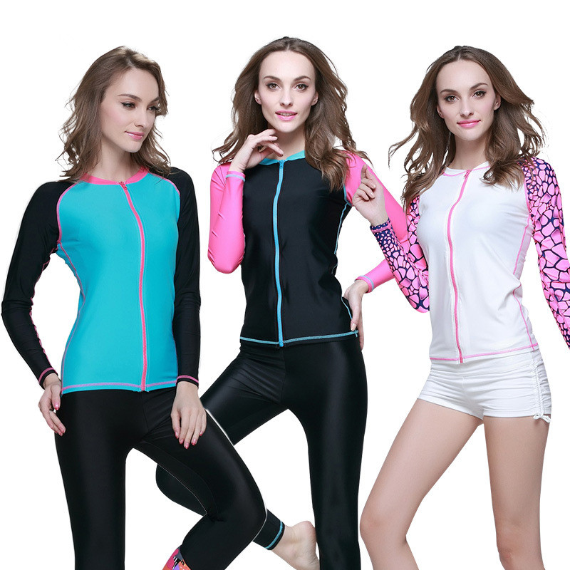 SBART Women Long Sleeve UPF50+ Wetsuit Anti-ultraviolet Quick-Dry Outdoor Sport Swimsuit Diving Kite Surfing Swimming Rashguard<br><br>Aliexpress