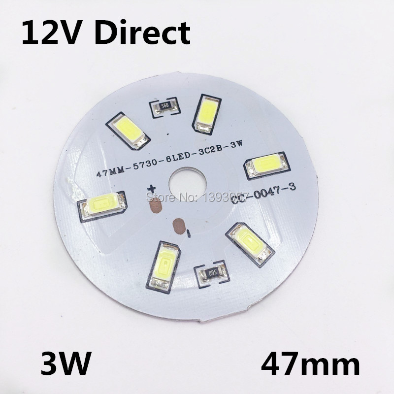 30pcs/lot DC12V 3W 5730 SMD Plate 12V Directly White / Warm White For DIY LED Bulb Free Shipping(China (Mainland))