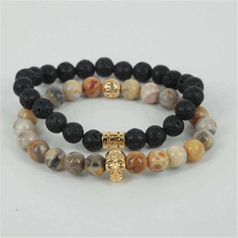 1lot men bracelet natural egg yellow agate & lava stone bead bead 24k real gold skull head women bracelet fine jewelry as a gift(China (Mainland))
