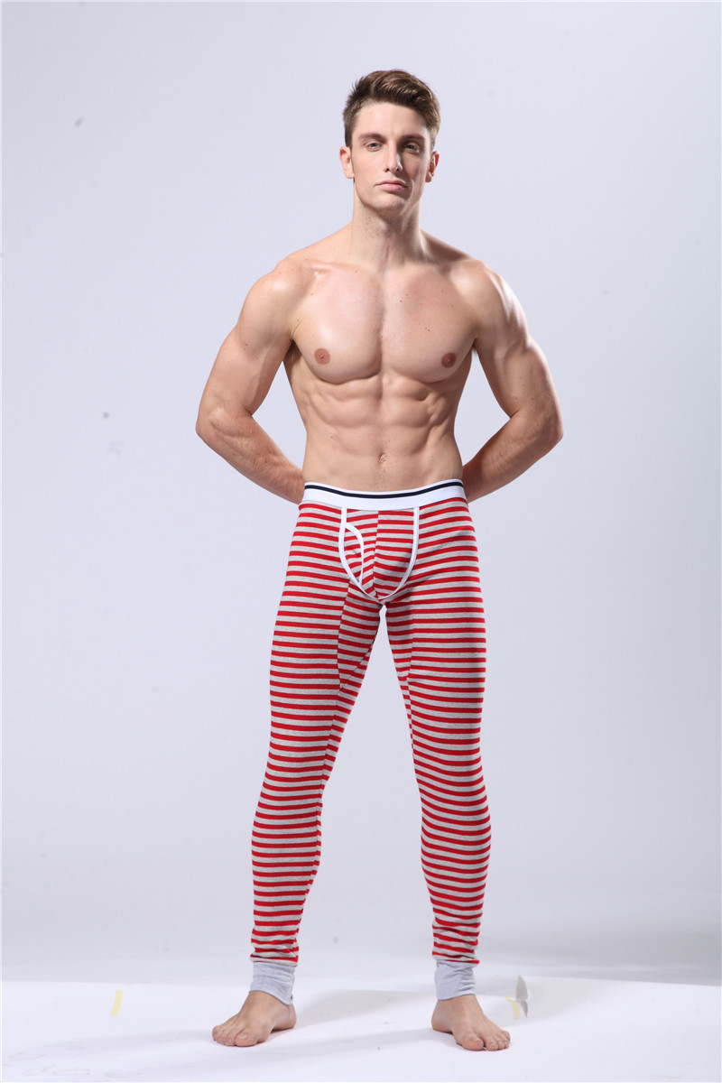 Men Underwear Pants Striped Male Long Johns Men's Trousers Underpants Long Smooth Thermal Underwear B0082(China (Mainland))