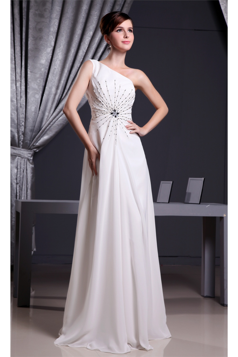 A line one shoulder floor length elegant white long dress for Floor length gowns