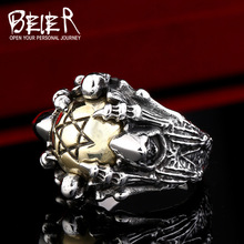 BEIER New Hot Drop Ship Man's Stainless Steel & Copper Hexagram Ring, Fashion Men's 2016 Exclusive Sale Punk Ring BR8-285(China (Mainland))