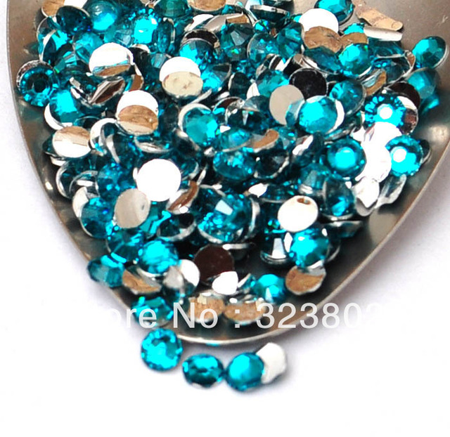 4MM Silver Plated Flatback Peacock Blue Acrylic Rhinestone Button Supply for Nail Art Garments Bags Shoes -10,000PCS