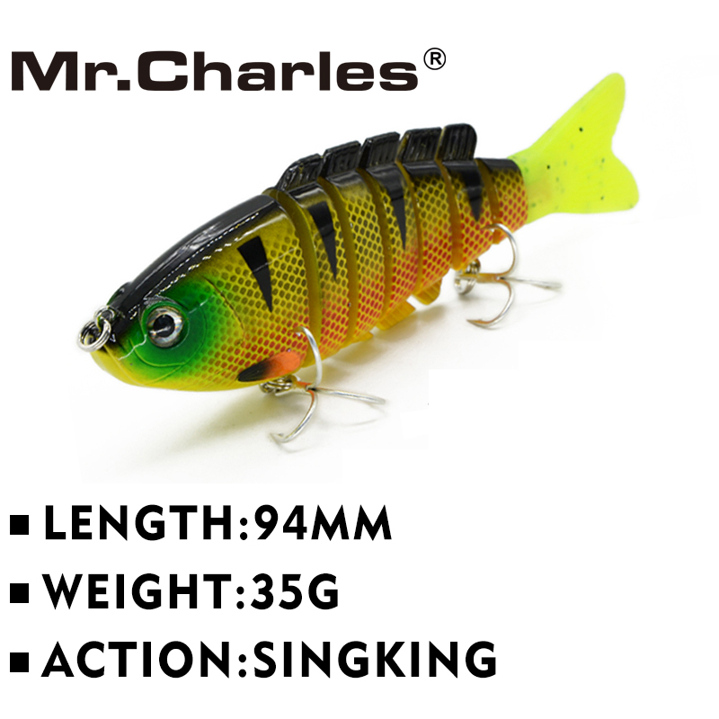 Mr.Charles CMCS 055 fishing lures 94mm/35g singking quality professional 7 Segment Swimbait Crankbait Hard Bait(China (Mainland))