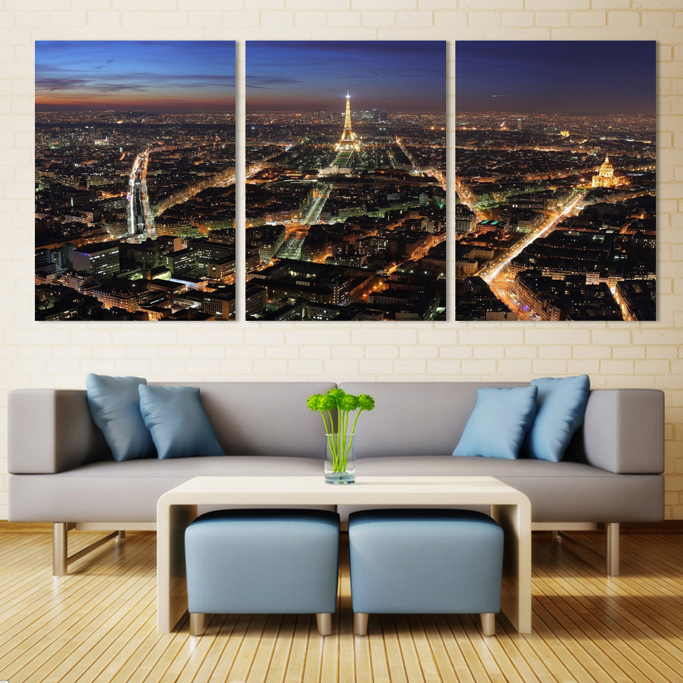 Effiel tower 3 Panels/Set Large HD Picture Canvas Modern Artwork Wall Decorative print painting On Canvas no framed(China (Mainland))