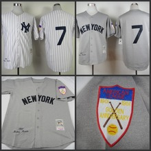 1951 Men's Baseball Jerseys, Mickey Mantle Jersey,New YorK 7 Mickey Mantle Jersey Grey MLB Jerseys Cool Base(China (Mainland))