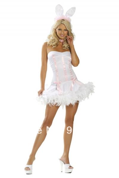 FREE SHIPPING S-2XLLadies Mad Hatter White Rabbit Bunny Alice In Wonderland Fancy Dress Costume Halloween Costume(China (Mainland))