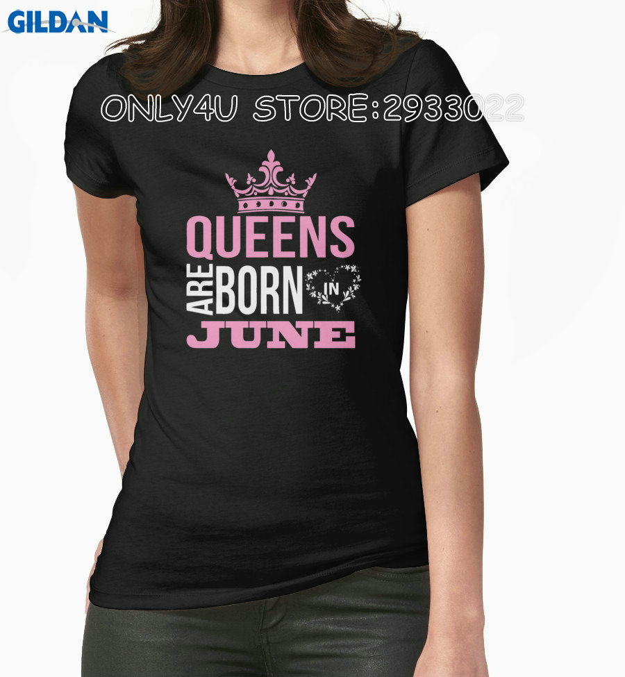 Gildan Only4U Online T Shirts Store Women'S Best Friend O-Neck Queens Are Born In June Short-Sleeve Womens Tee Shirts(China (Mainland))