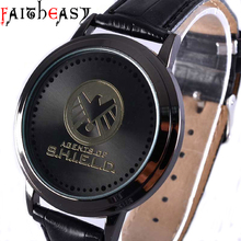 2016 Fashion Agents of SHIELD theme Digital watch men leather simple led wrist watch