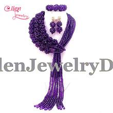 2017 Amazing African Beads Jewelry Set Nigerian Wedding African Purple Jewelry Sets Crystal Beads Jewelry Sets E1037(China (Mainland))