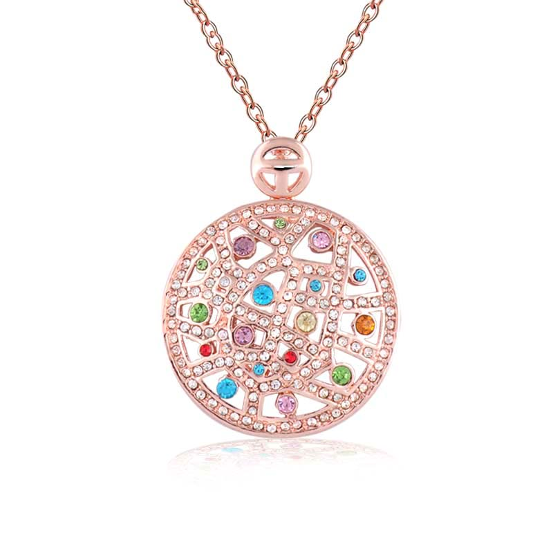 Fashion Rose Gold Plated Pendant Necklace Fine jewelry Classic Full Rhinestone Round Pendants For Woman(China (Mainland))