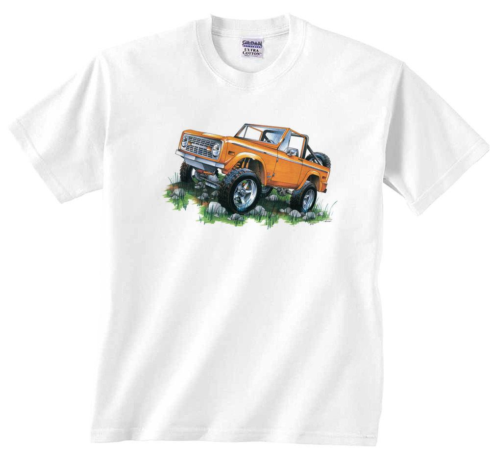 GILDAN Classic Ford Bronco Orange 4x4 Offroading 1966-77 Truck T-Shirt(China (Mainland))