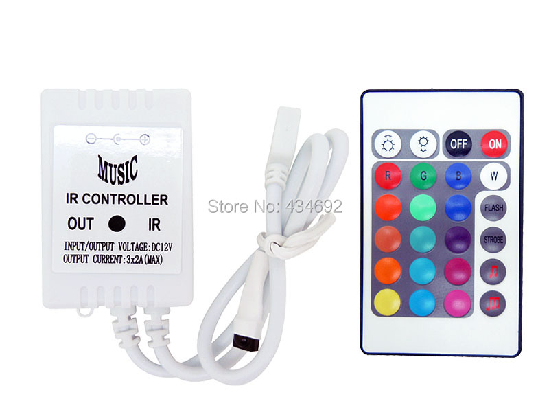 5PCS/LOT 24 Key Infrared Aduio Sound Music LED Controller for strip light simple wireless COMMON ANODE Free Shipping(China (Mainland))