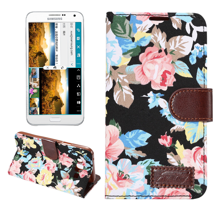 Flower Print Fabric + PU leather Case For Samsung GALAXY E7 Wallet Card Holder stand Flip Phone Bags cover(China (Mainland))