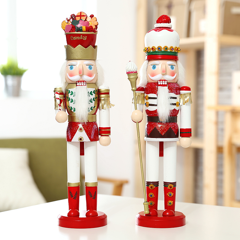 2pcs/lot Germany Nutcracker Soldier King 38cm Vintage Wooden Table Walnut Puppet Craft Dolls Creative Household Decoration(China (Mainland))