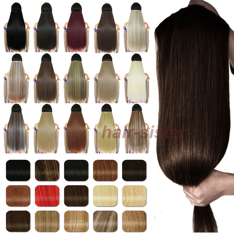 ANY LENGTH & COLORS One piece Clip in as remy style Hair Extensions 3/4 Full Head Straight Synthetic Hair for human Free Shiping(China (Mainland))