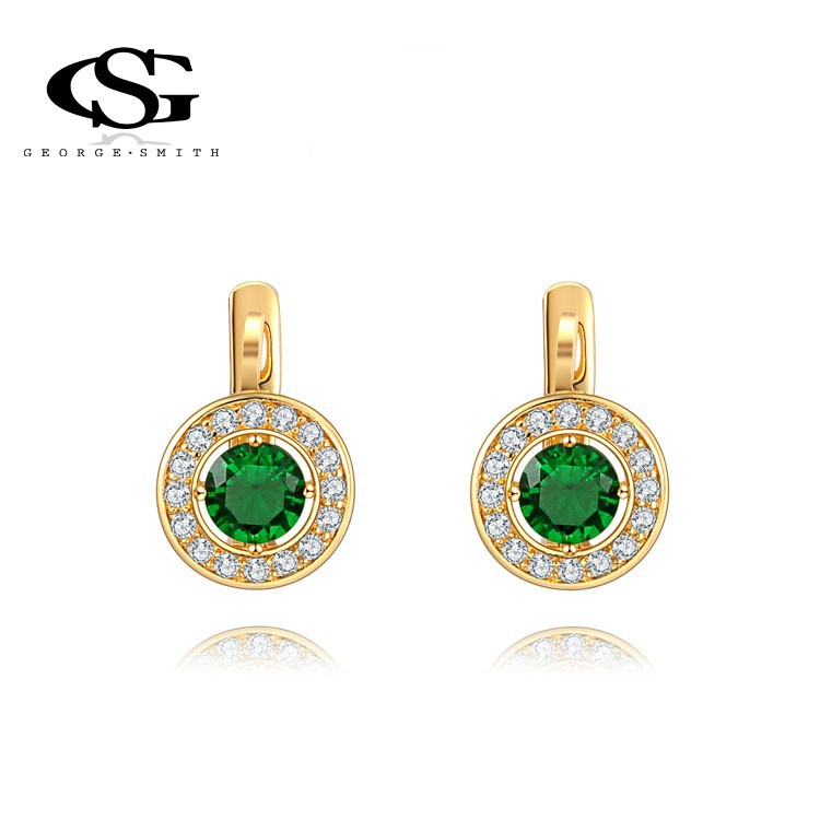 Women stud earings 18K Gold Plated Earring Cubic Zirconia Mont Green Precious Srone Luxury lady Stud Earring jewelry gift(China (Mainland))