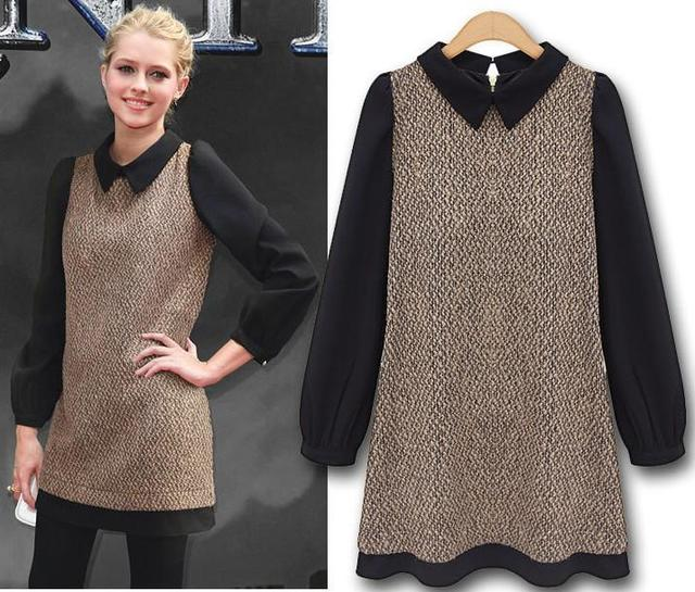 Tweed Dresses New Fashion 2013 Autumn Chiffon Long Sleeves Peter Pan Collar A Line Vintage Dress Patchwork Camel Color AW13D021