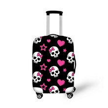 Fashion skull elastic suitcase protective covers for 18'' - 30'' travel luggage case waterproof cover black/purple/red/green(China (Mainland))