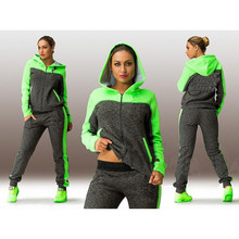 2 pieces tracksuit for women pink and green hooded sweatshirts with a zipper +pants jogging clothing Big size L-4XL (China (Mainland))