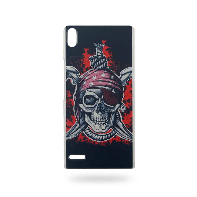 Most Popular Phone Case Ghost Fire Skull Skeleton for Huawei Ascend P6 Hard Back Cover 0460(China (Mainland))
