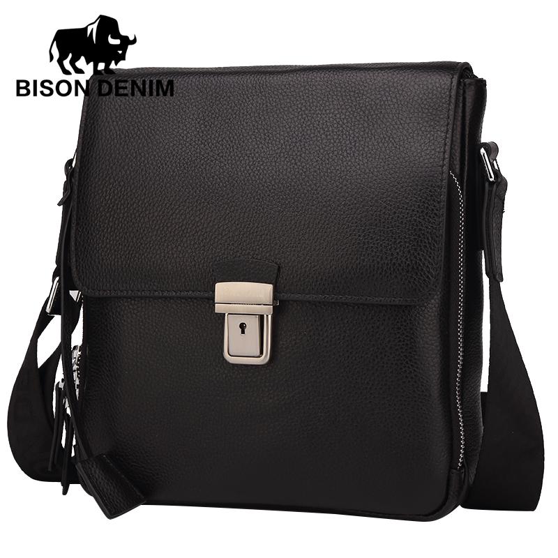 BISON DENIM men's bags Genuine Leather Shoulder&Messenger Bag Men cover Black Business Bag top-handle bags high N2531