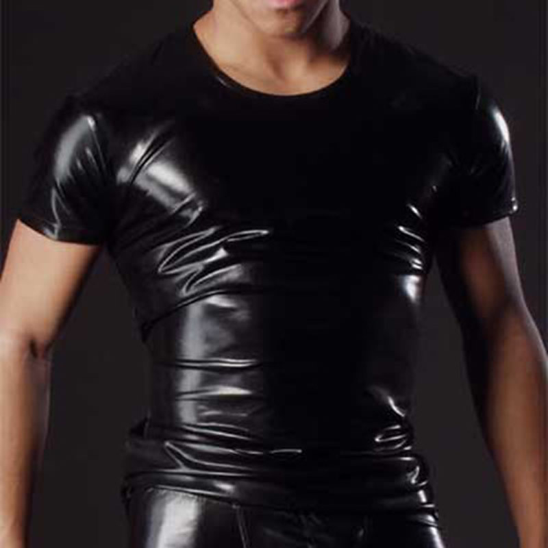 Fashion sexy mens underwear t shirt short sleeve jacket for Mens shirts with leather