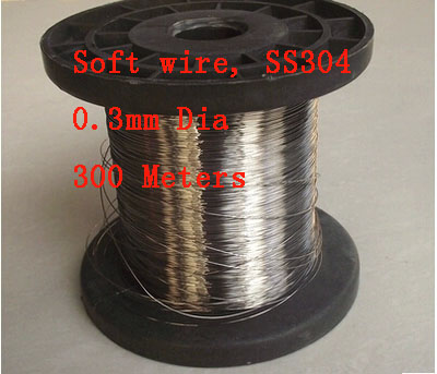 300 meters, 0.3mm Dia Soft Condition SS304 Stainless Steel Wire Industry Experiment DIY Material 300 meters(China (Mainland))