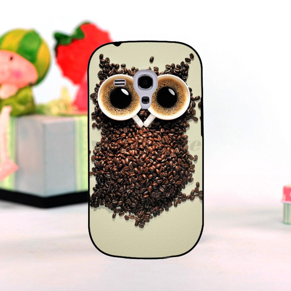 cute owl made from coffee cup and coffee beans Classic image paintings cover Mobile phone For galaxy s3 mini Mobile Phone Cases(China (Mainland))