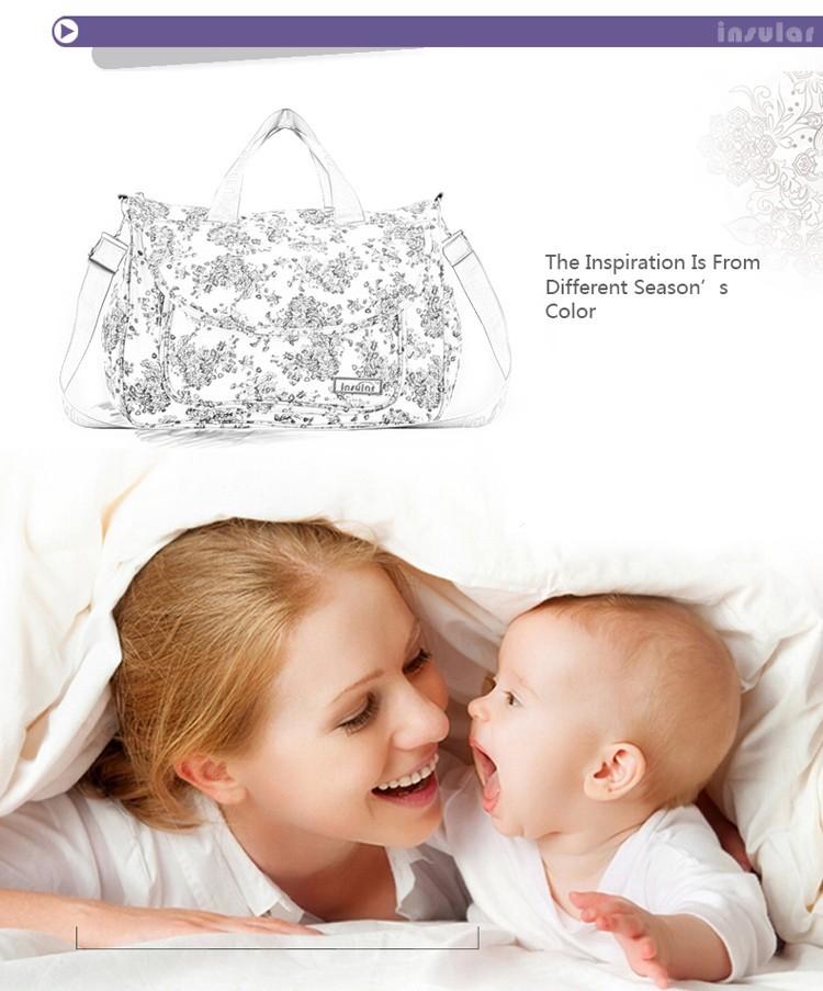 2015 новая мать / ребенка пеленки сумки / большой емкости для беременных мумия пеленки мешок / многофункциональный / хлопок / цветок стиль / розничная торговля 1 шт.