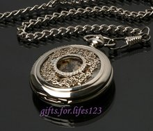 Mechanical Classic Silver Flower Carving Pocket Watch(China (Mainland))
