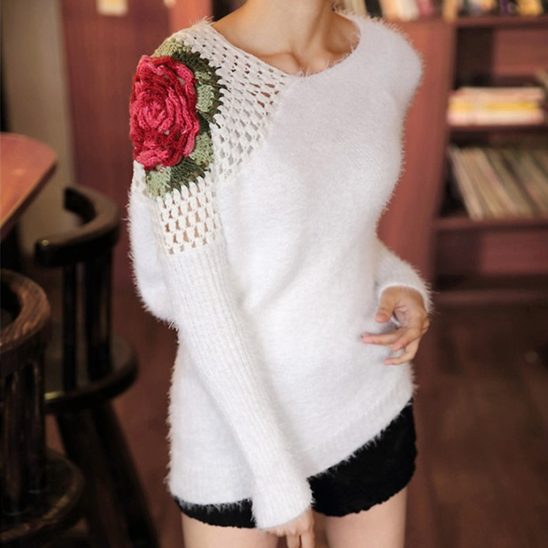 Bat Sleeve Mohair Sweater 2016 Crochet Rose Floral Hollow Shoulder Sweater Hedging Sexy Loose Crop Sweater Women N010(China (Mainland))