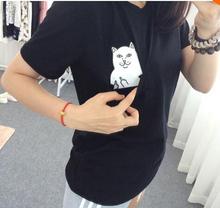 2016 New Summer Fashion Pocket Harajuku Cat Lovers Women Top Short-sleeve T shirt Cute Sweet Style Black/White/Grey Plus Size(China (Mainland))