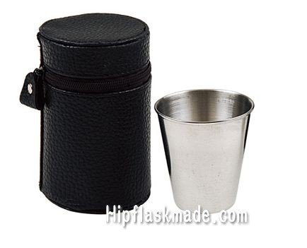 Free shipping, 75ml Quality Stainless Steel mini flask shot Cup with 4pcs in pu pag ,jigger(China (Mainland))
