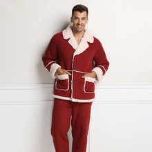 Christmas Clothes Cashmere Casual Lounge Wear Thicken Pajama Set for Men Free Shipping(China (Mainland))