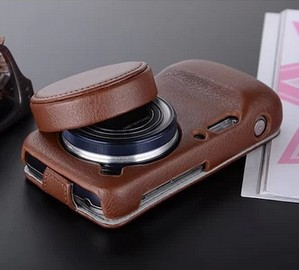 For Samsung Galaxy S4 Zoom SM c101 c1010 Lens Leather Case Cover with Lens cap(2 in 1)+Screen protector
