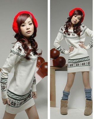 Slim sweater dress with christmas deer long knitting sweater dress