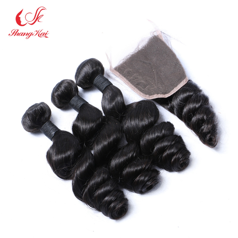 7A Grade Peruvian Virgin Hair Loose Wave With Closure 3 Hair Bundles With Lace Closures Cheap Human Hair Weave With Closure